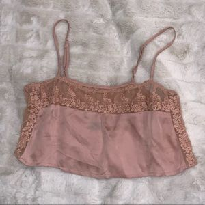 UO Cropped Lace Silky Cami